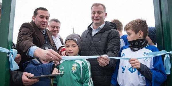 A new artificial-surface football field opened in Kotsiubyntsi